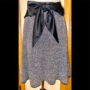 Express tweed lace-trim skirt with black satin bow